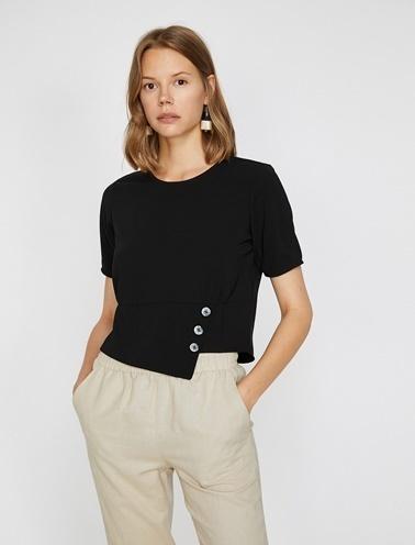 Koton Düğme Detaylı Bluz Siyah